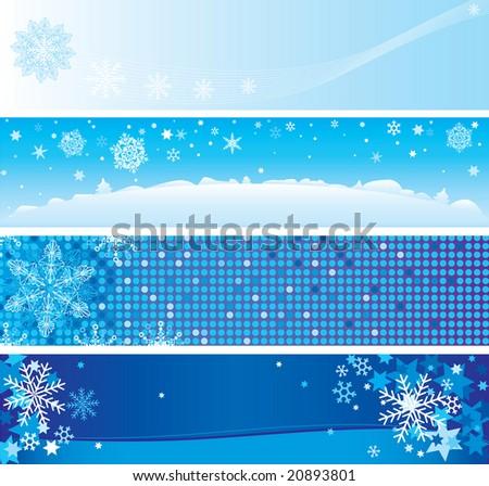 four christmas banners - stock vector