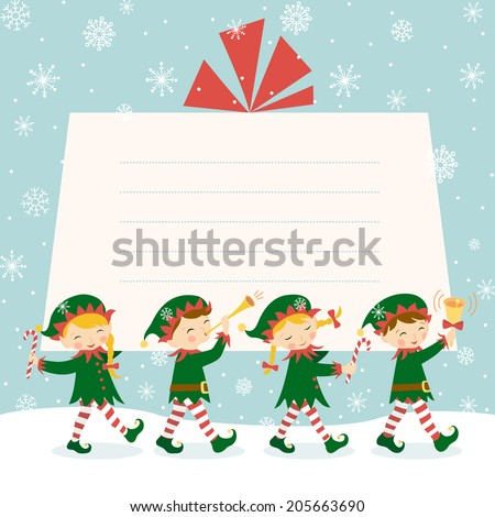 Four Christmas elves carrying a gift  - stock vector