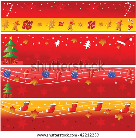 Four christmas horizontal banners. Vector illustration.