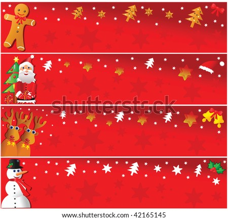 Four christmas horizontsl banners. Vector illustration.