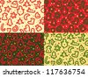 Four Christmas Snakes Seamless Patterns - stock vector