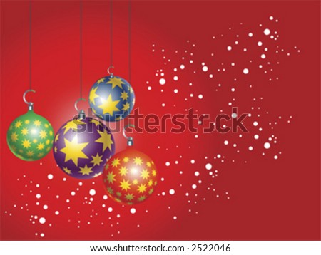 four Christmas tree ornament hanging over red background