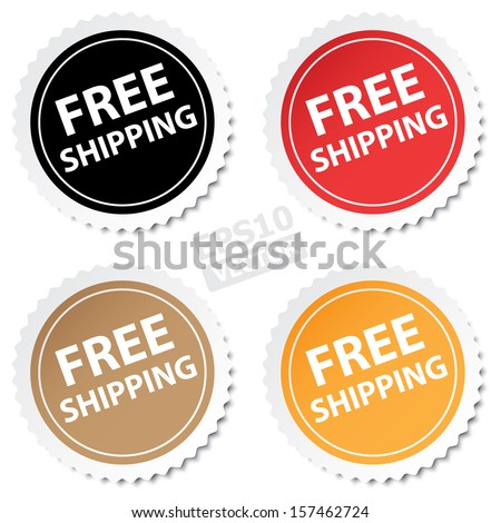 "Four circle ""Free Shipping"" stickers or (icons , label, signs, badge, symbols). eps10 vector - stock vector"