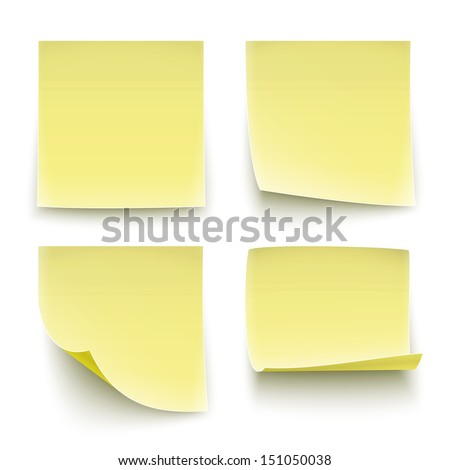 Four classic yellow paper stickers, twisted on different degree. Vector illustration. EPS10. - stock vector