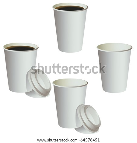 Four coffee paper cups. vector isolated on white