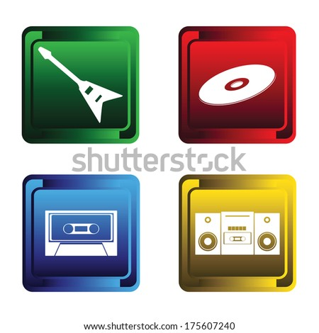 Four color buttons on a white background