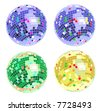 four color disco balls, vector - stock photo