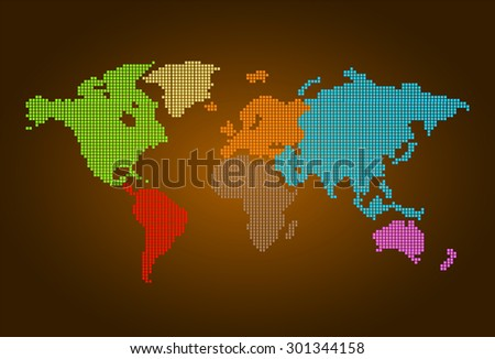 four color map of the world pixel background. vector illustration. dot. table. square. Mosaic. infographics. background for computer graphic website internet and technology. dark brown background. - stock vector