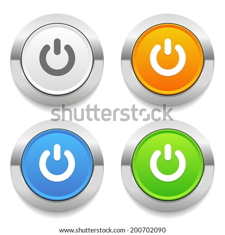 Four color round button with start icon and metallic border - stock vector