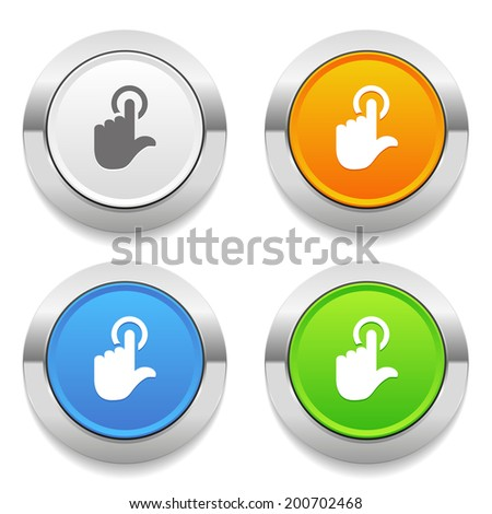 Four color round button with touch icon and metallic border - stock vector