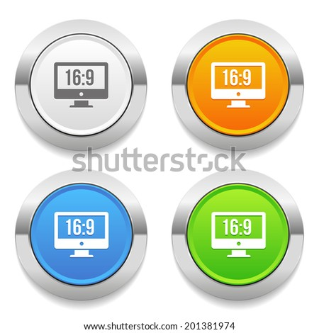 Four color round button with wide screen icon and metallic border - stock vector
