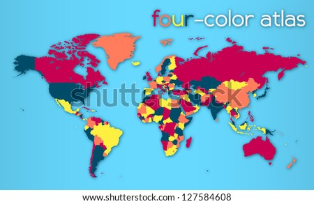 Four-color World Map | EPS10 Vector - stock vector