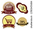 four colored icons for black friday with text - stock vector