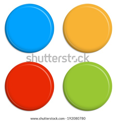 four colored Magnets / Buttons - stock vector