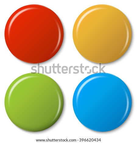 four colored magnets with shadow and light reflex - stock vector