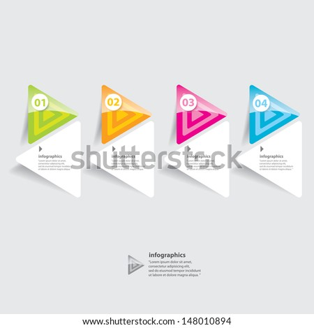 Four colored modern progress paper design template / can be used for infographics / numbered banners