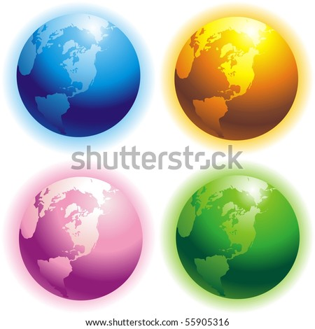 Four colored planet for your design - stock vector