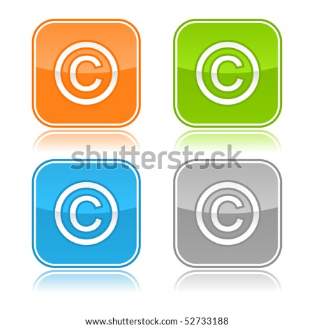 Four colored rounded square web button with copyright sign on white - stock vector