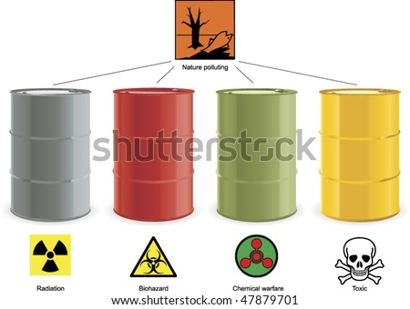 four colored steel barrels with hazard signs - stock vector