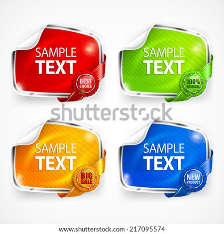 Four colored sticker with ribbon and award, vector illustration - stock vector