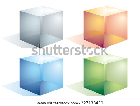 Four colored transparent cubes isolated on white. Eps8. CMYK. Organized by layers.Global colors. Gradients used. - stock vector