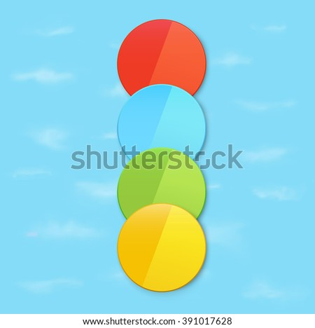 Four Colorful Badges on a Blue Sky Wallpaper - stock vector