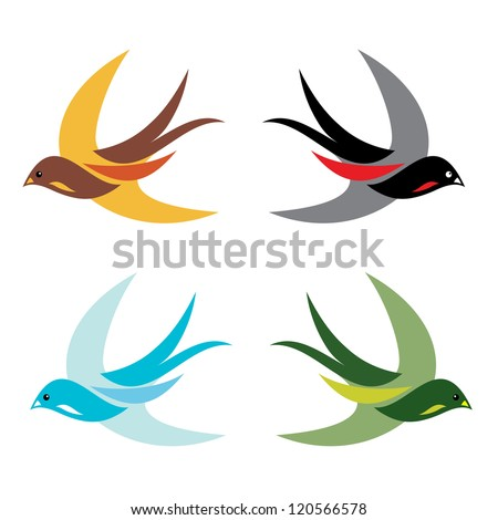 Four colorful birds in flight on white background - vector - stock vector