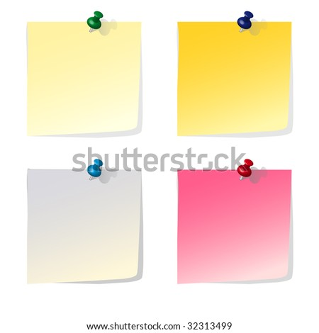 Four colorful reminder notes with pins - vector file