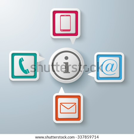Four colorful speech bubbles with circle centre on the gray background. Eps 10 vector file. - stock vector