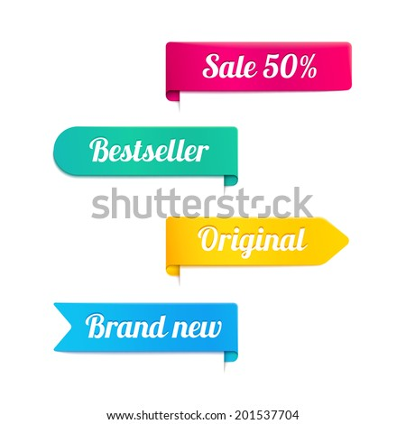 Four colorful vector ribbons or banners for a retail store in magenta  yellow  cyan and blue with the text - Sale 50 percent - Bestseller - Original - Brand New - in different shapes isolated on white - stock vector