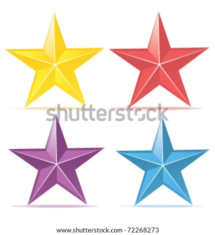 four colors stars. Yellow, red, purple, blue. - stock vector