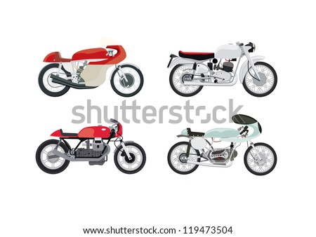 Four colourful vector cafe racer style motorbikes on a white background from a side view - stock vector