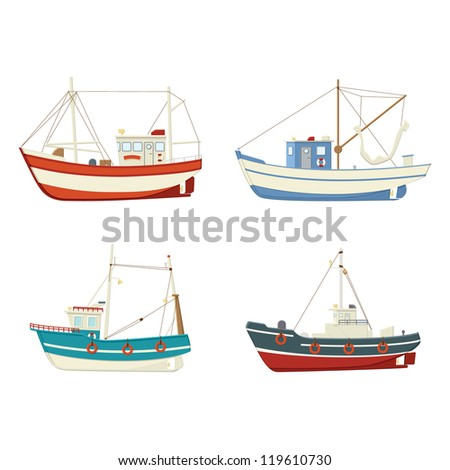 Four colourful vector fishing boats, side view on a white background