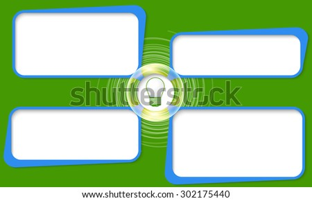 Four connected frames for your text and bulb - stock vector