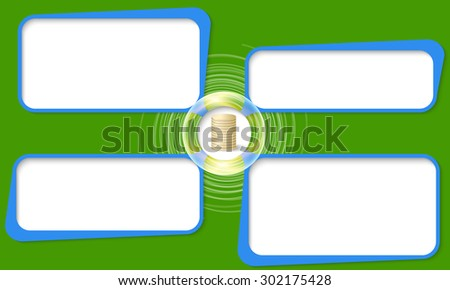 Four connected frames for your text and coin - stock vector