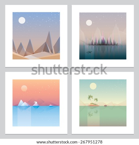four contemporary minimalistic landscape print wallpaper designs. Low polygon style flat illustrations of abstract desert, northern forests, arctic glaciers and palm trees island concept artworks - stock vector