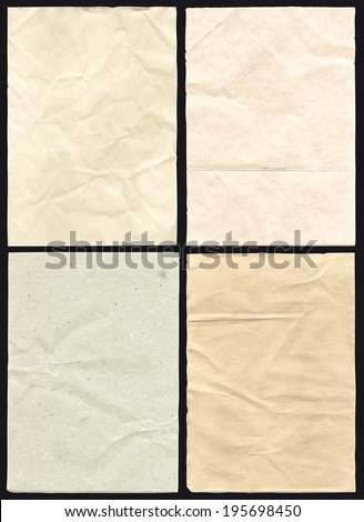 Four Crumpled Vector hi detail Papers - stock vector