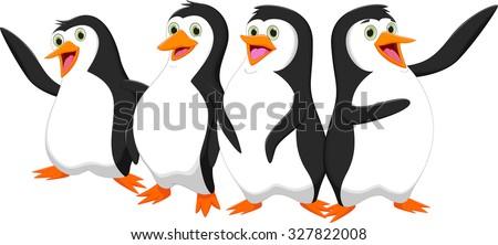four cute cartoon penguin - stock vector