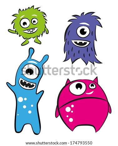 Four cute characters - monsters or aliens. - stock vector