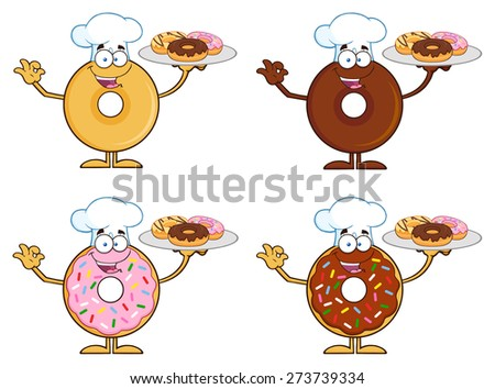 Four Cute Donuts Cartoon Character 9. Vector Collection Set Isolated On White - stock vector