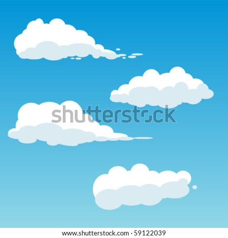 four cute vector clouds - stock vector