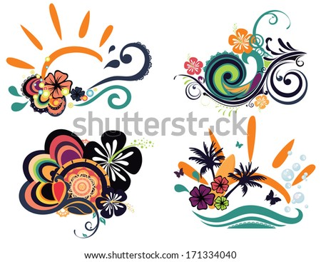 four designs with hibiscuses isolated - stock vector