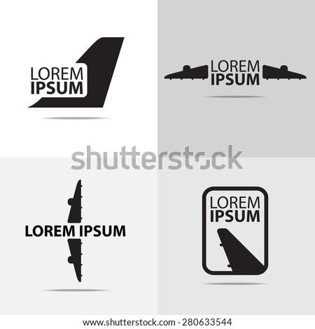four different air plane logo design - stock vector