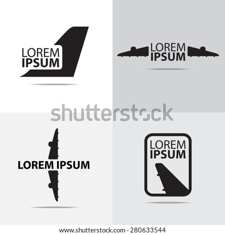 Four different air plane logo design. (Set of Airplane logo) - stock vector