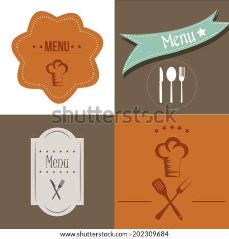 four different backgrounds with elements for menu design - stock vector