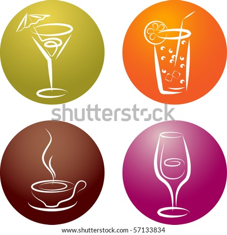 four different beverage icon logos - stock vector