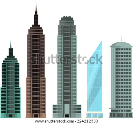 Four different buildings set collection vector illustration. - stock vector