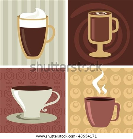 Four different coffee mugs and cups - stock vector