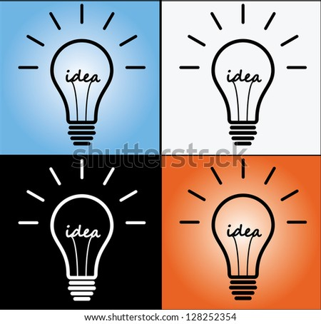 Four Different Concept Illustration of Idea using glowing bulb sign or Symbol with idea text at the middle with four different backgrounds.(Black, White, Gradient Blue and Gradient Red) - stock vector