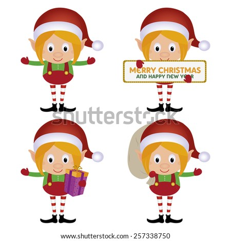four different cute elfs on a white background